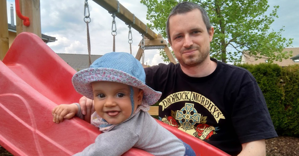 Software developer Laurent Winkler with his daughter Elise
